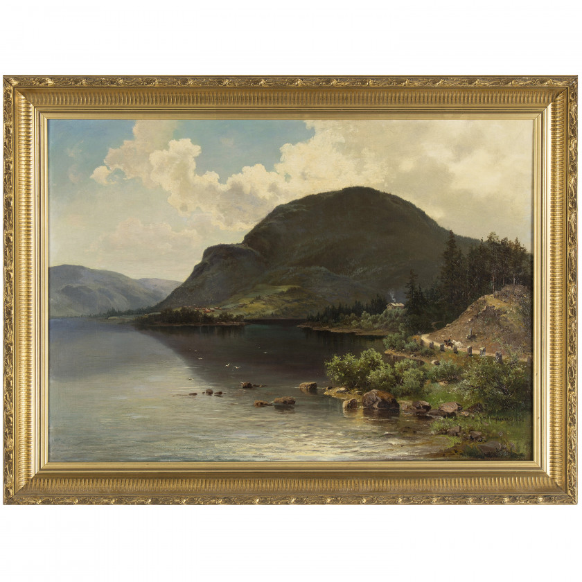 "Painting ""Landscape with a mountain"""