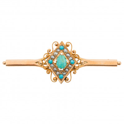 Gold brooch with pearls and turquoises