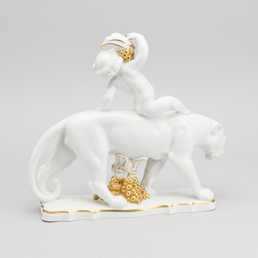 "Porcelain figure ""Putti on a panther"""