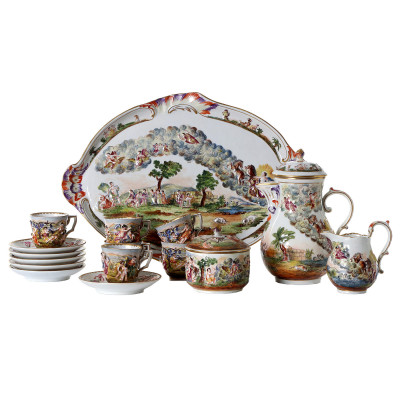 Porcelain coffee set for 6 persons