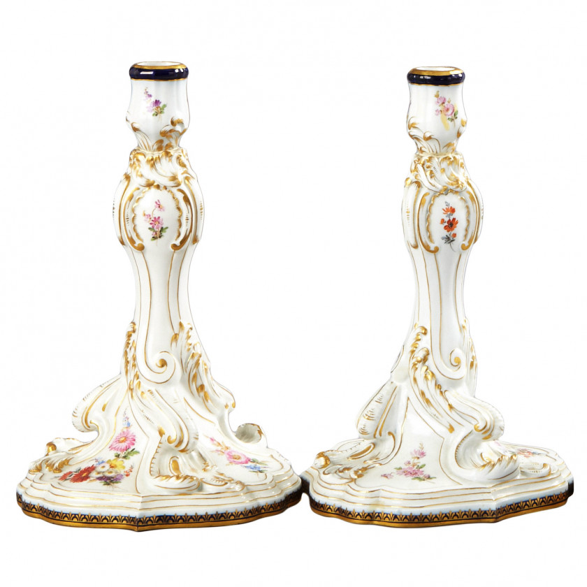 Set of two porcelain candlesticks
