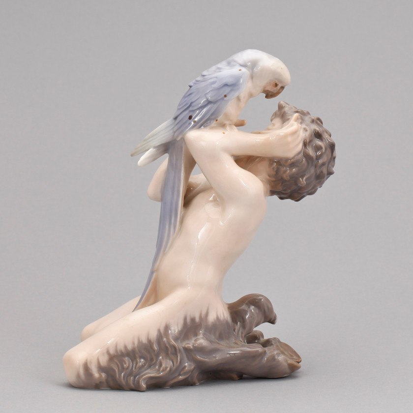 "Porcelain figure ""Faun with a parrot"""