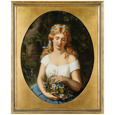 """Painting """"Girl with a basket of flowers"""""""