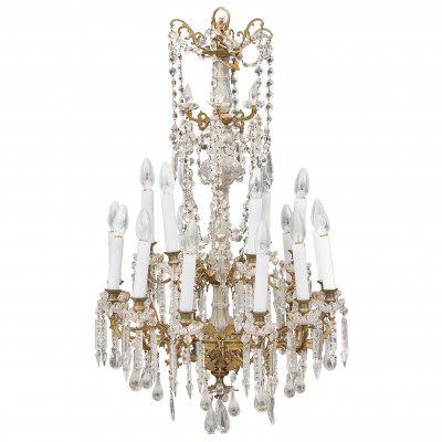 Bronze chandelier with crystal