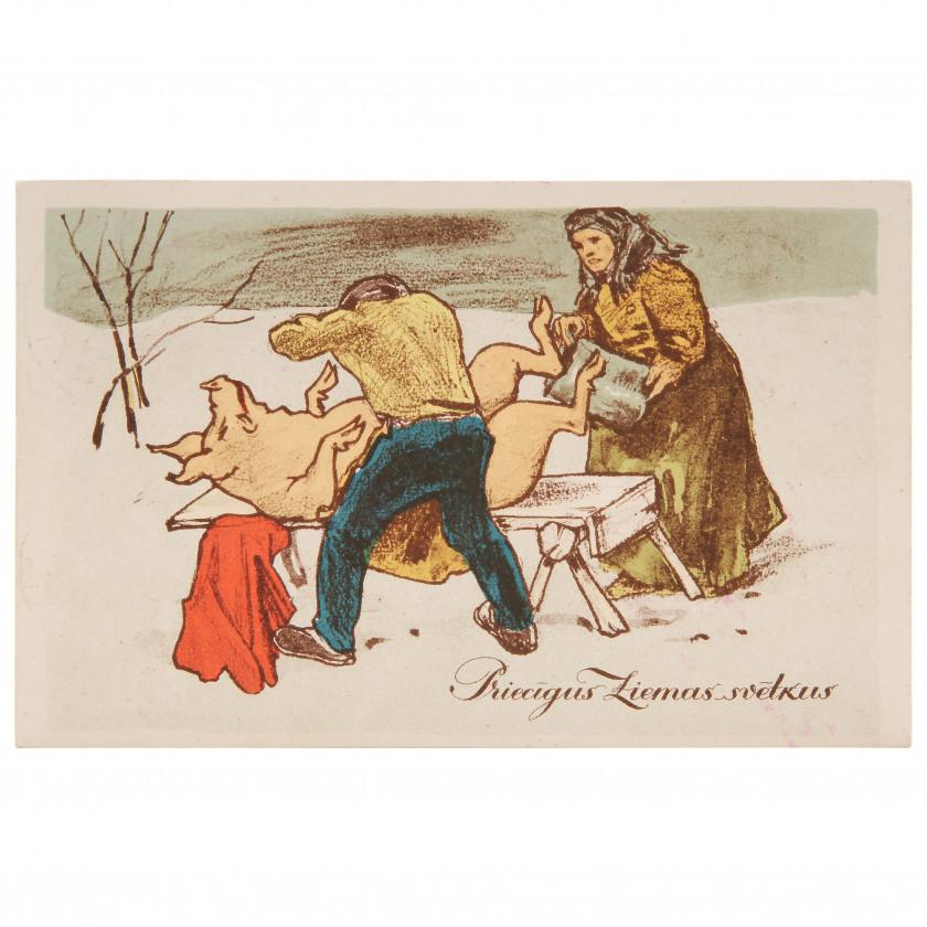"""Postcard """"Merry Christmas!"""""""