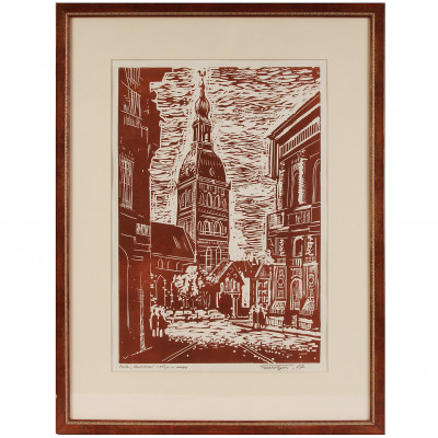 """Linocut """"Doma Cathedral"""""""