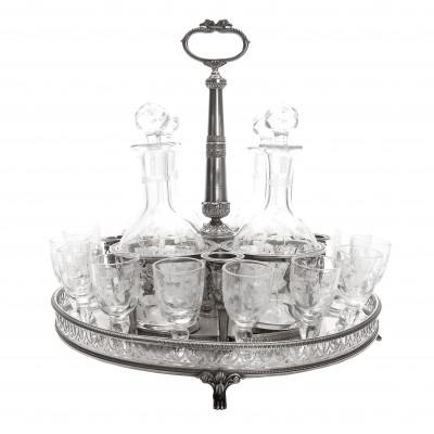 Silver liqueur serving set