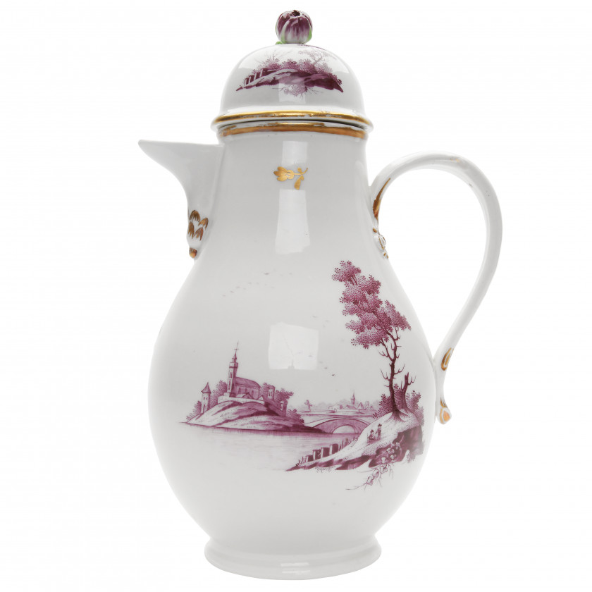 Porcelain coffee pot and cover