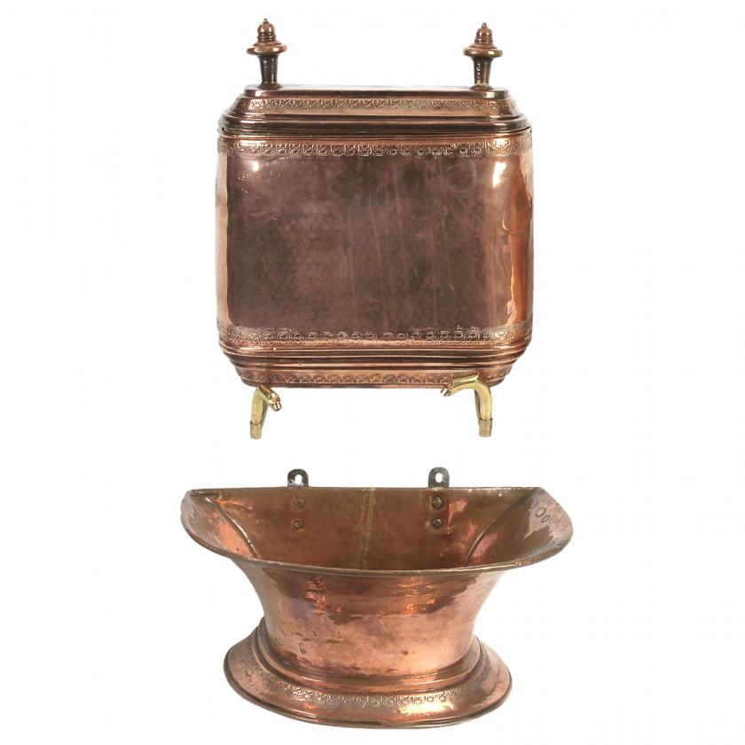 Two-piece brass washbasin