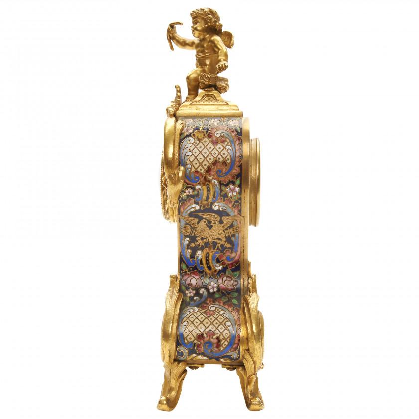 Bronze champleve enamel mantel clock