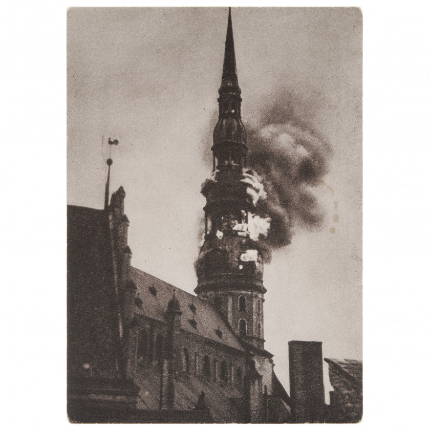 "Postcard ""Burning tower of St. Peter's church"""