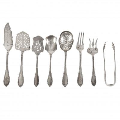 Silver eight-piece serving set