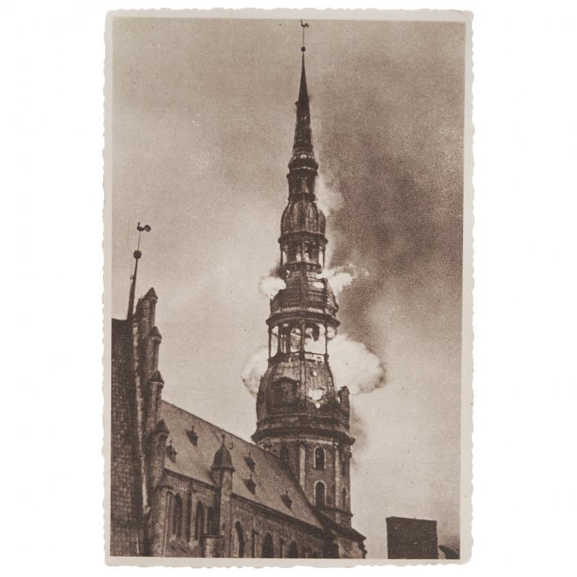 """Открытка """"Горящая башня церкви Святого Петра"""""""