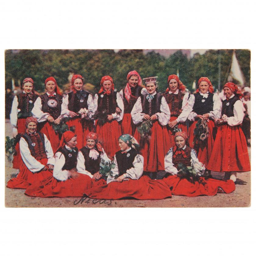 "Postcard ""Folk costumes at the IX Song Festival (Nīca)"""