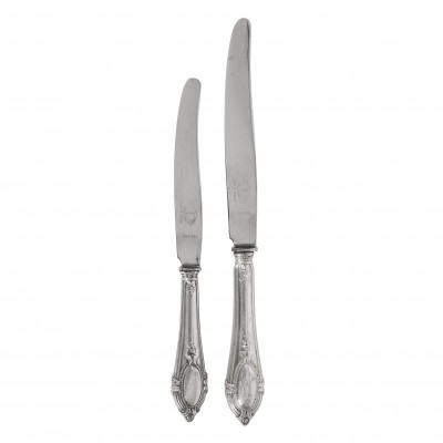 Silver 12 pieces table and dessert knives set