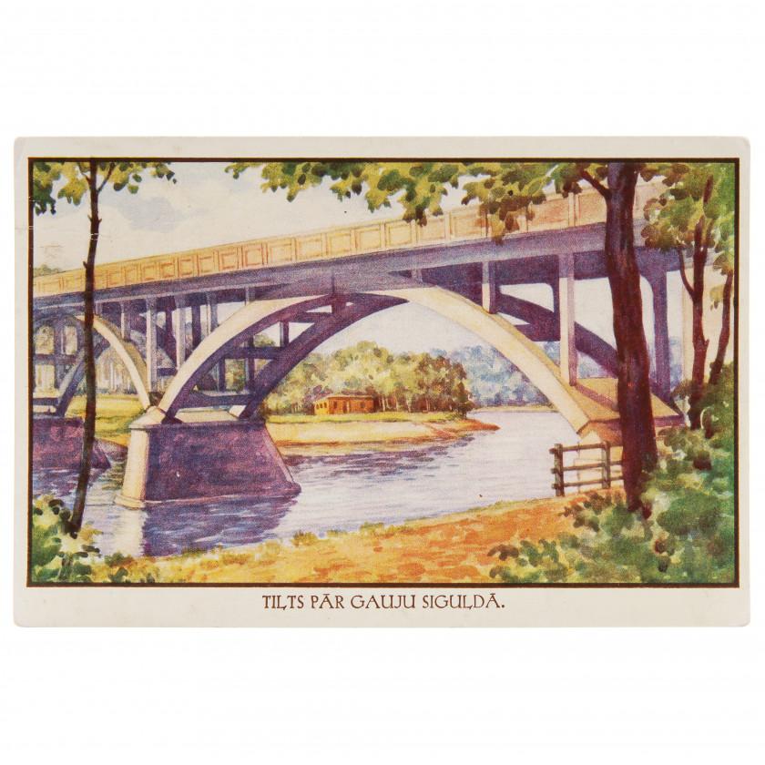 "Postcard ""Bridge over the Gauja in Sigulda"""