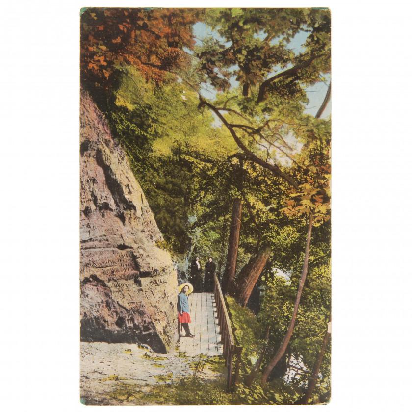 "Postcard ""Krimulda. Bridge at the Devil's Cave."""