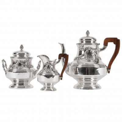 Silver three-piece coffee set