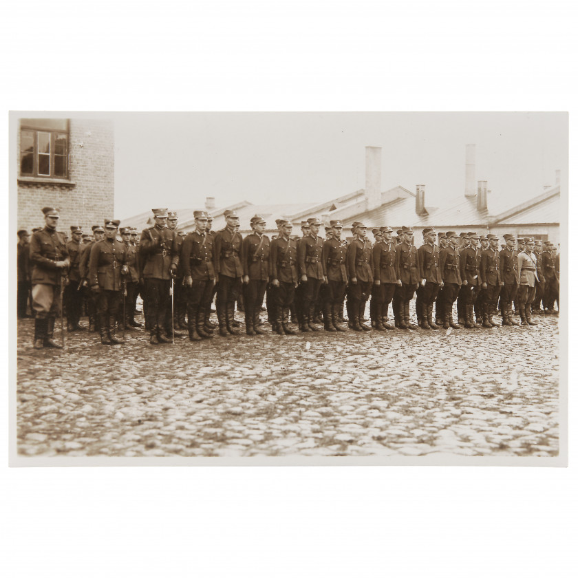 """Photography """"Servicemen of the Latvian Army in the line"""""""