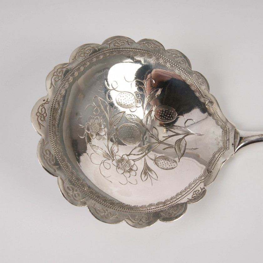 Silver serving spoon