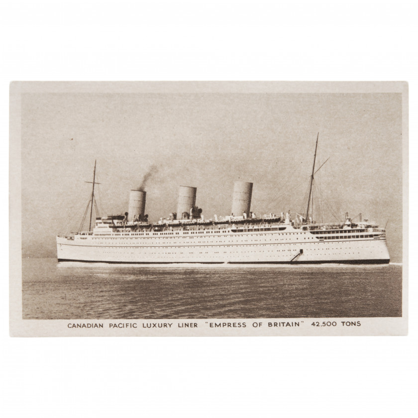 """Postcard """"Canadian Pacific Luxury Liner - Empress of Britain"""""""