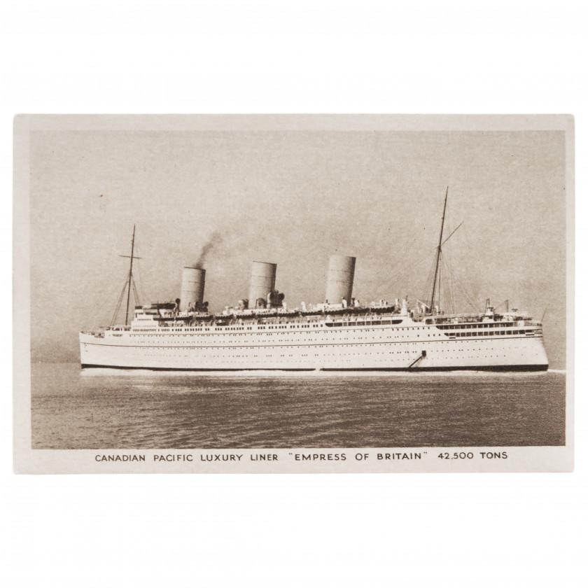 """Открытка """"Канадский тихоокеанский роскошный лайнер - Empress of Britain"""""""