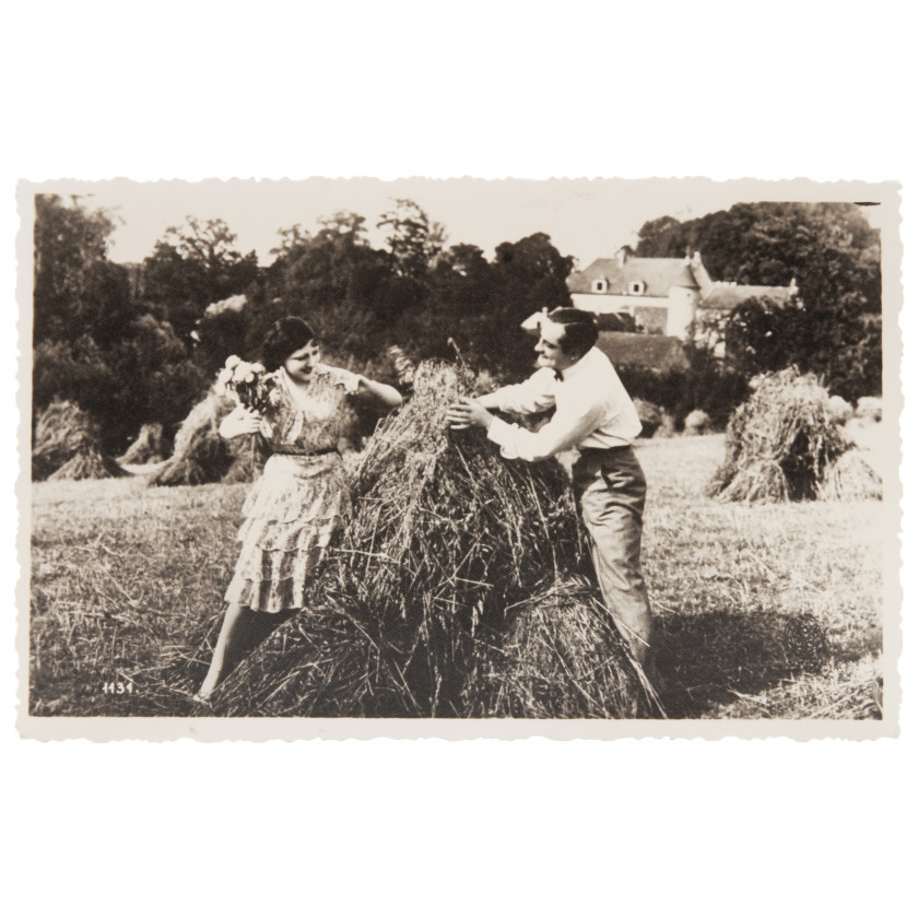 "Photography ""Young people by the haystack"""