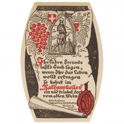 "Wine mat - postcard ""Rathauskeller - Vienna"""