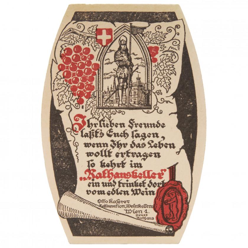 "Подставка под вино - открытка ""Rathauskeller - Вена"""