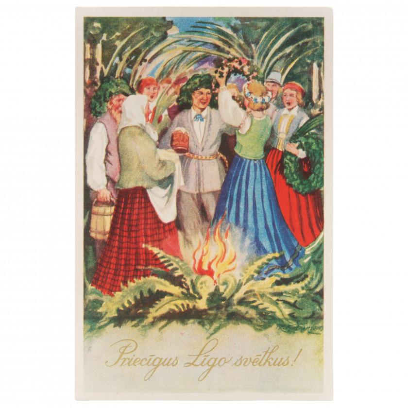 """Postcard """"Happy Ligo!"""""""