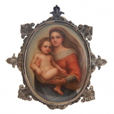 Miniature on porcelain of the original painti...