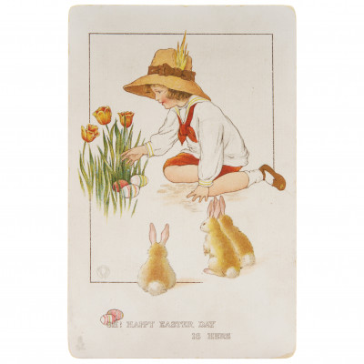 """Postcard """"Oh! Happy Easter Day Is Here"""""""