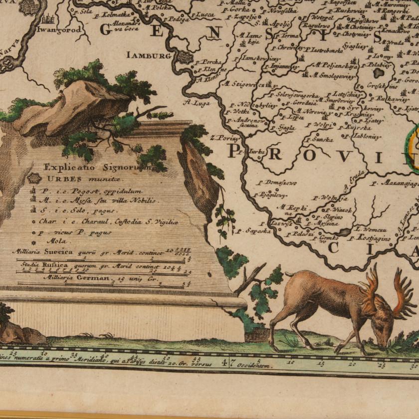 "Map - engraving ""Ingermanlandiae seu Ingriae Novissima Tabula"""