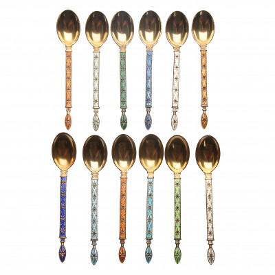 Set of silver coffee spoons with enamel, 12 p...