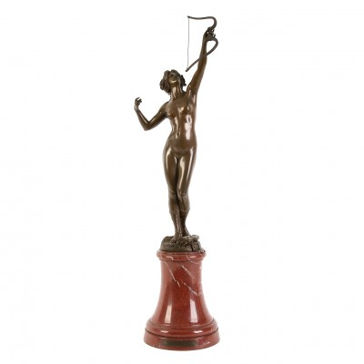 "Bronze figure of ""Diana"" on a marble pedestal"