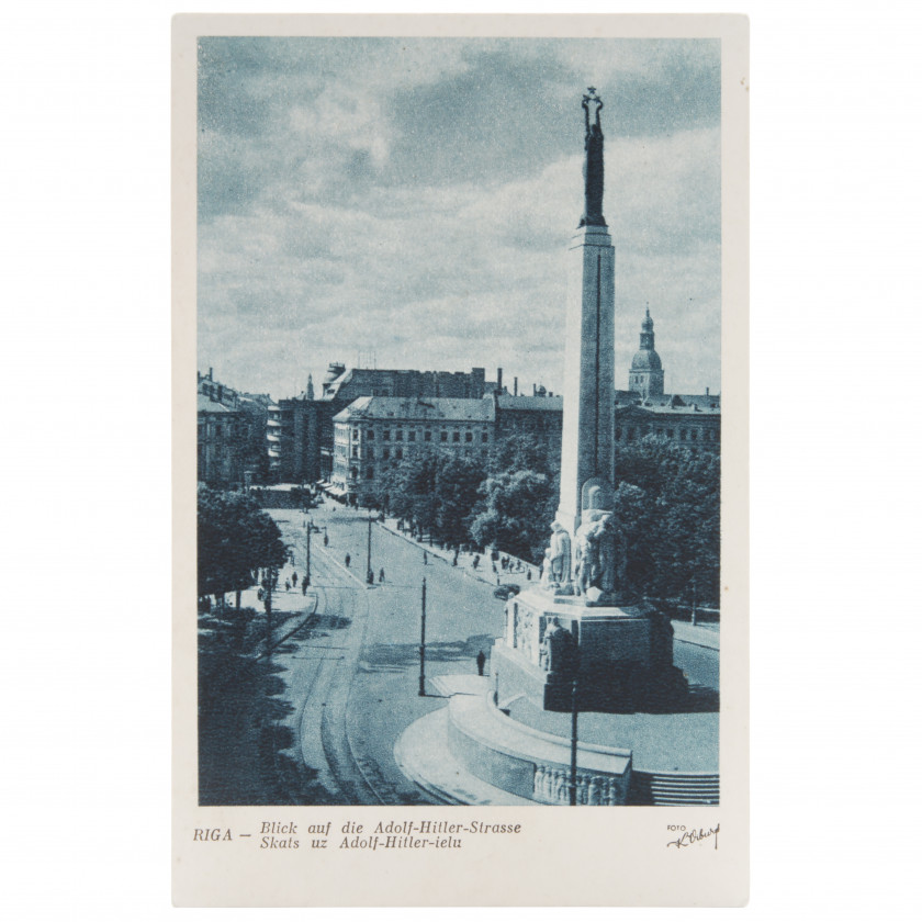 "Postcard ""Riga. View of the Adolf Hitler street"""