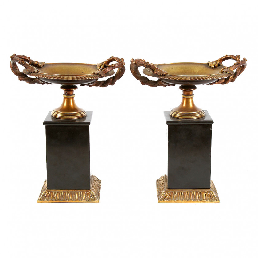 A Pair of bronze vases in Greek style