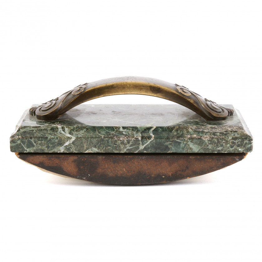 Paperweight made of dark green marble and bronze