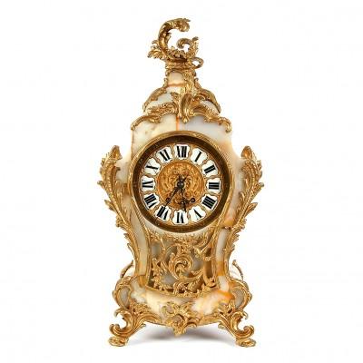 Lielais oniksa kamīna pulkstenis ar bronzu