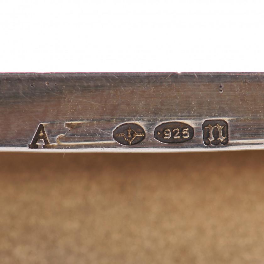 Silver cigarette case with guilloche enamel