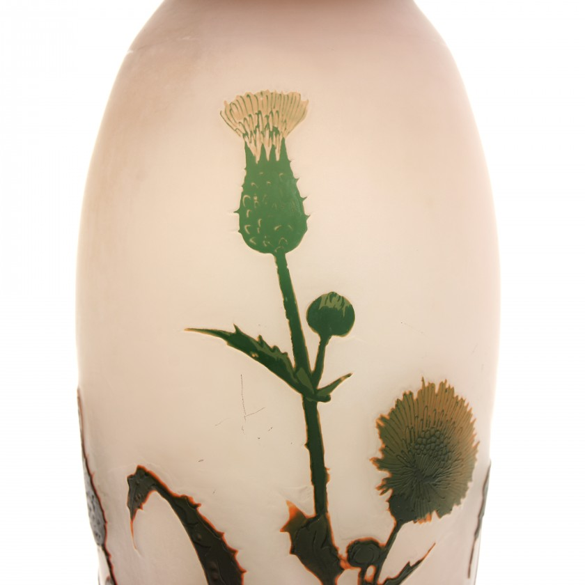 Glass vase in cameo technique