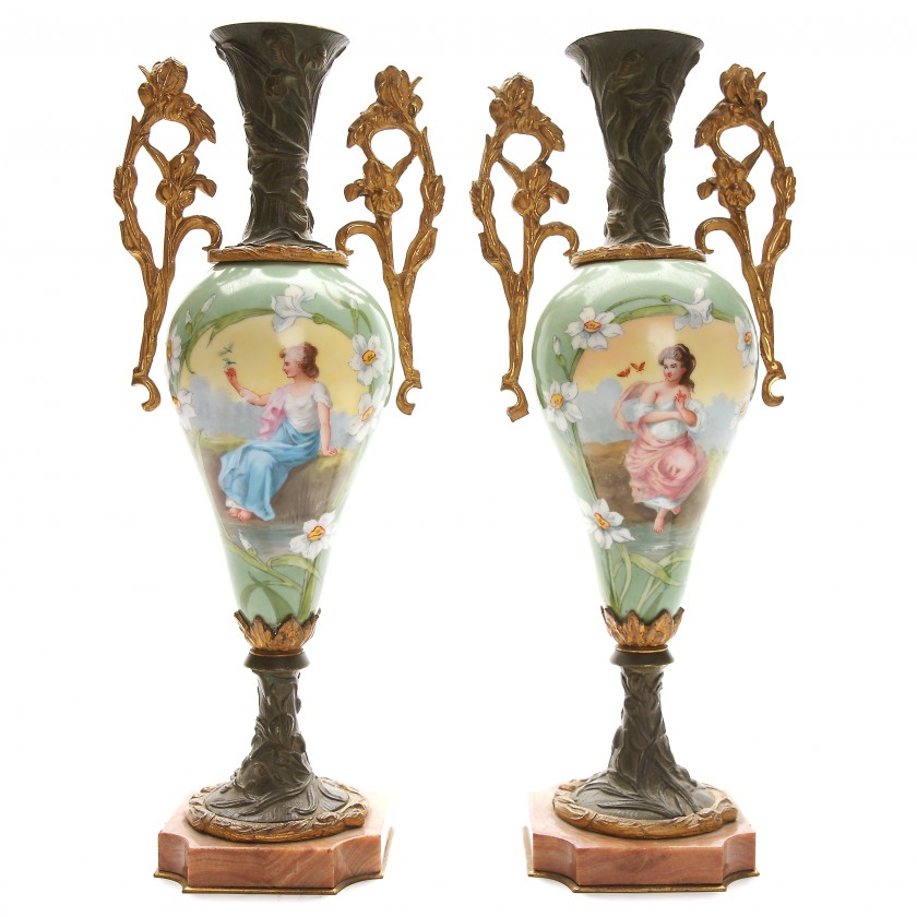 Two decorative vases in art nouveau style