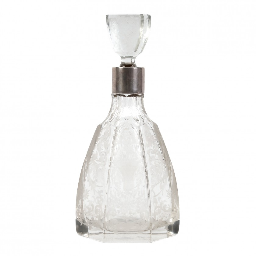 Crystal carafe with silver
