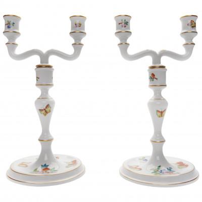Set of two porcelain candlesticks