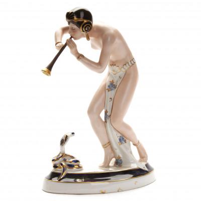 """Porcelain figure """"Dancer with a snake"""""""