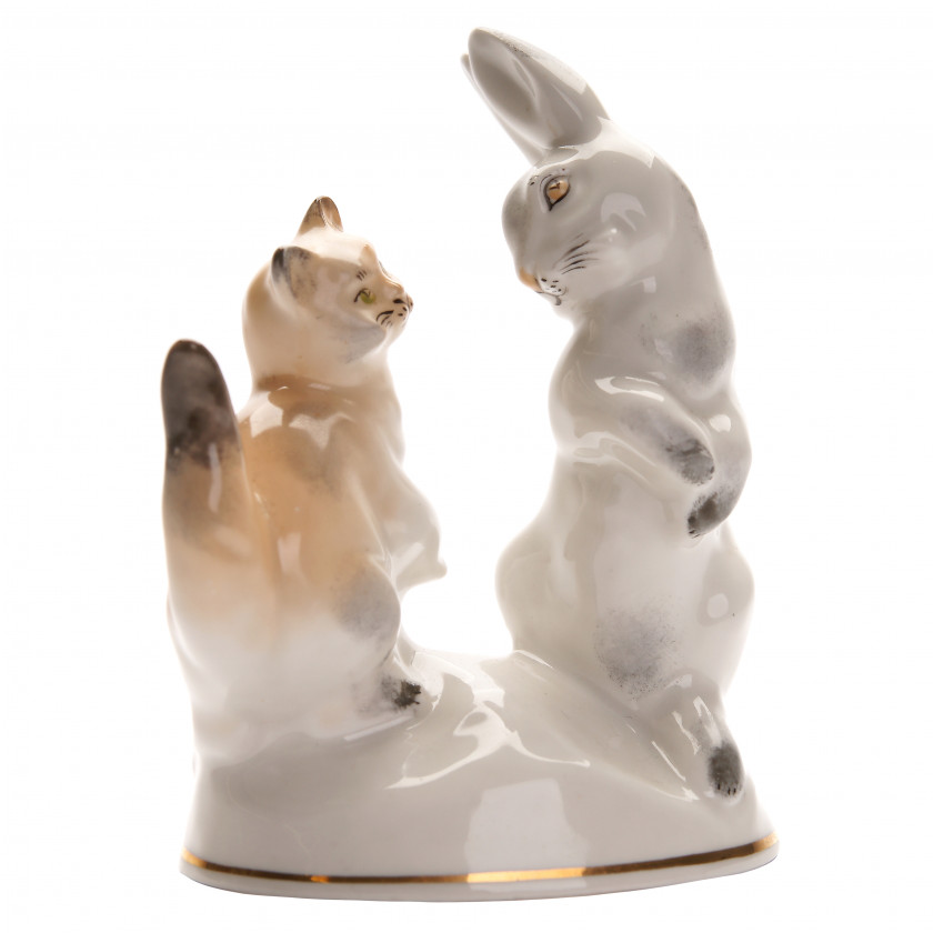 """Porcelain figure """"Hare and cat"""""""