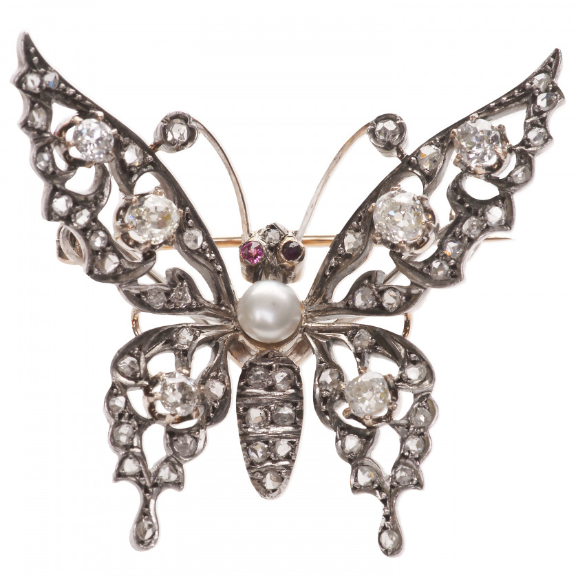"""Gold brooch """"Butterfly"""" with diamonds, rubies and a pearl"""
