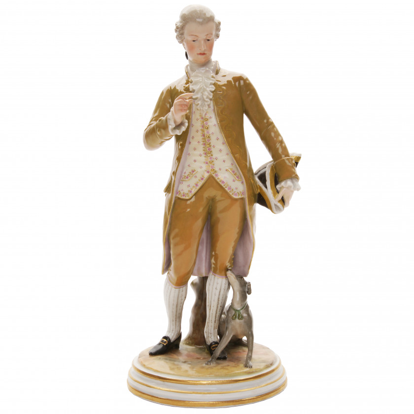 "Porcelain figure ""Cavalier with a dog"""