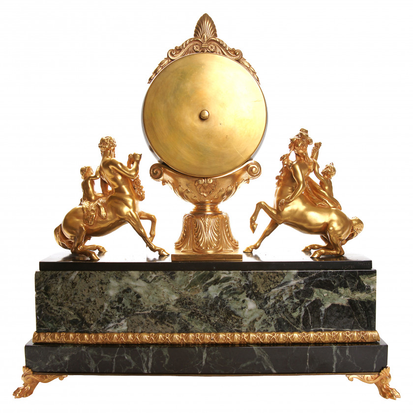 Bronze mantel clock with marble