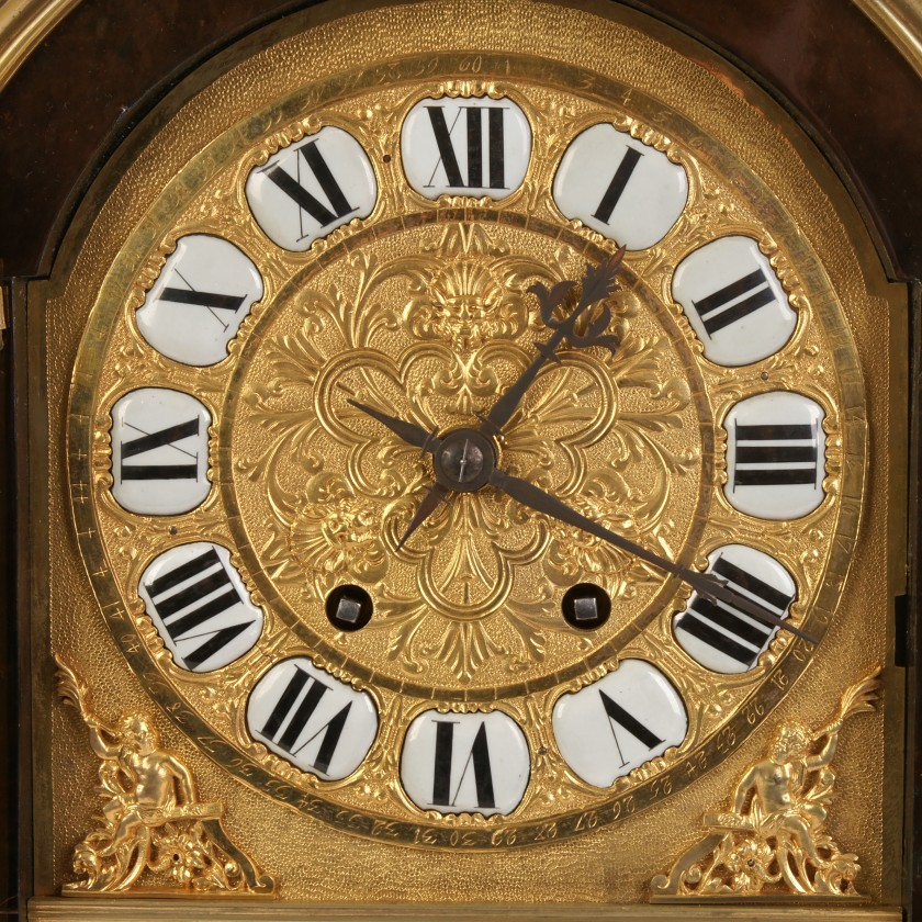 Bronze clock from tortoise shell with bronze elements